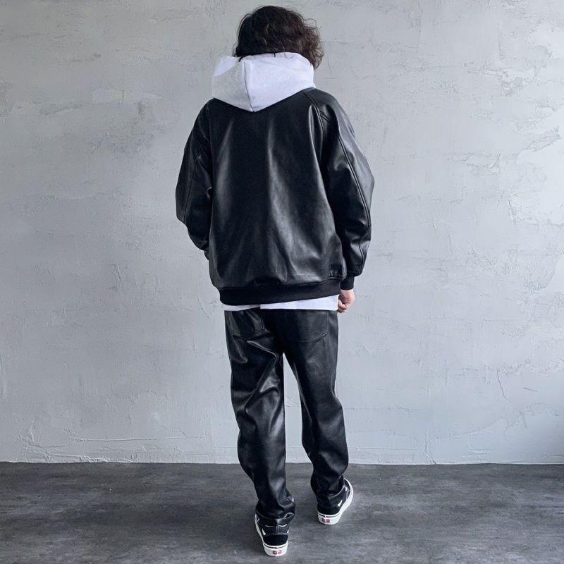UNIVERSAL OVERALL [ユニバーサルオーバーオール] 別注 エコレザーボンバージャケット [U2131494IN-JF] BLACK &&モデル身長:173cm 着用サイズ:M&&