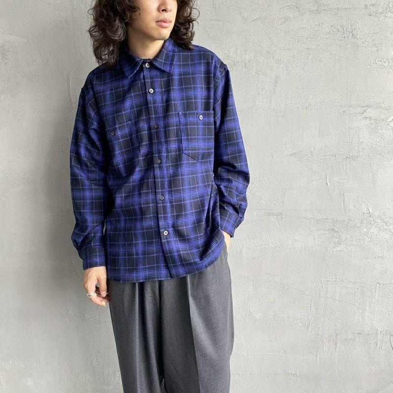 UNIVERSAL OVERALL [ユニバーサルオーバーオール] 別注 チェック柄ビッグシャツ [U2133139IN-JF] BLU CHECK&&モデル身長:173cm 着用サイズ:M&&