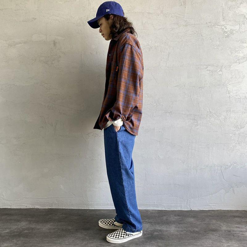 UNIVERSAL OVERALL [ユニバーサルオーバーオール] 別注 チェック柄ビッグシャツ [U2133139IN-JF] BRN CHECK&&モデル身長:173cm 着用サイズ:L&&