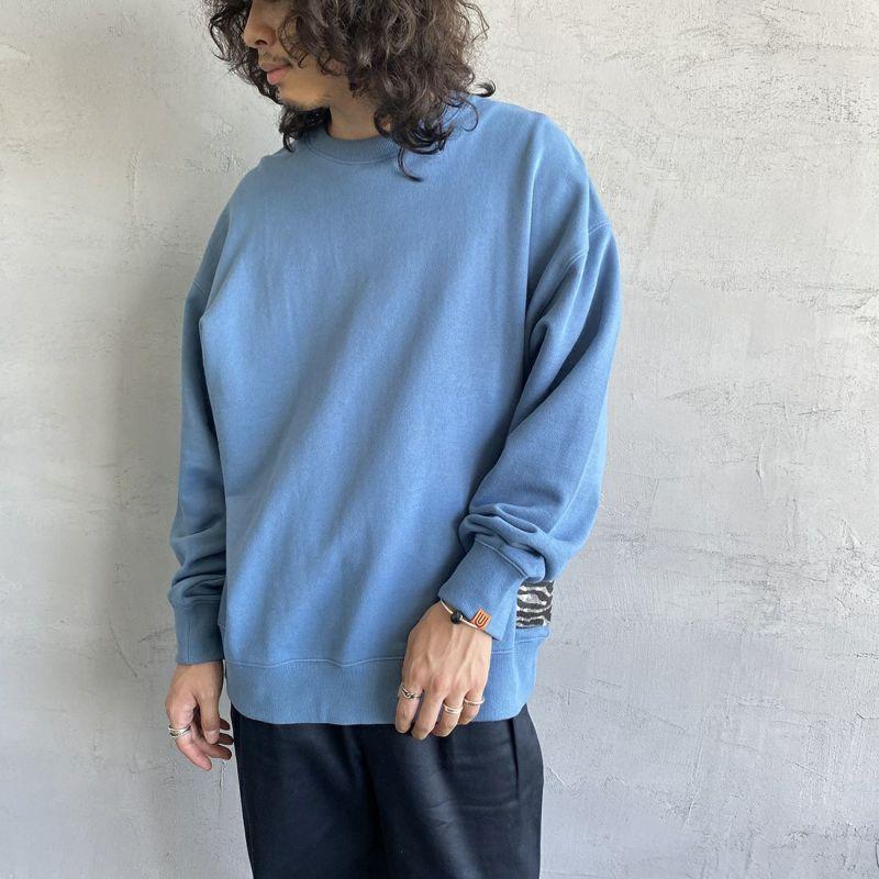 UNIVERSAL OVERALL [ユニバーサルオーバーオール] 別注 カバーオールスウェット [U2131226IN-JF] BLUE&&モデル身長:173cm 着用サイズ:XL&&