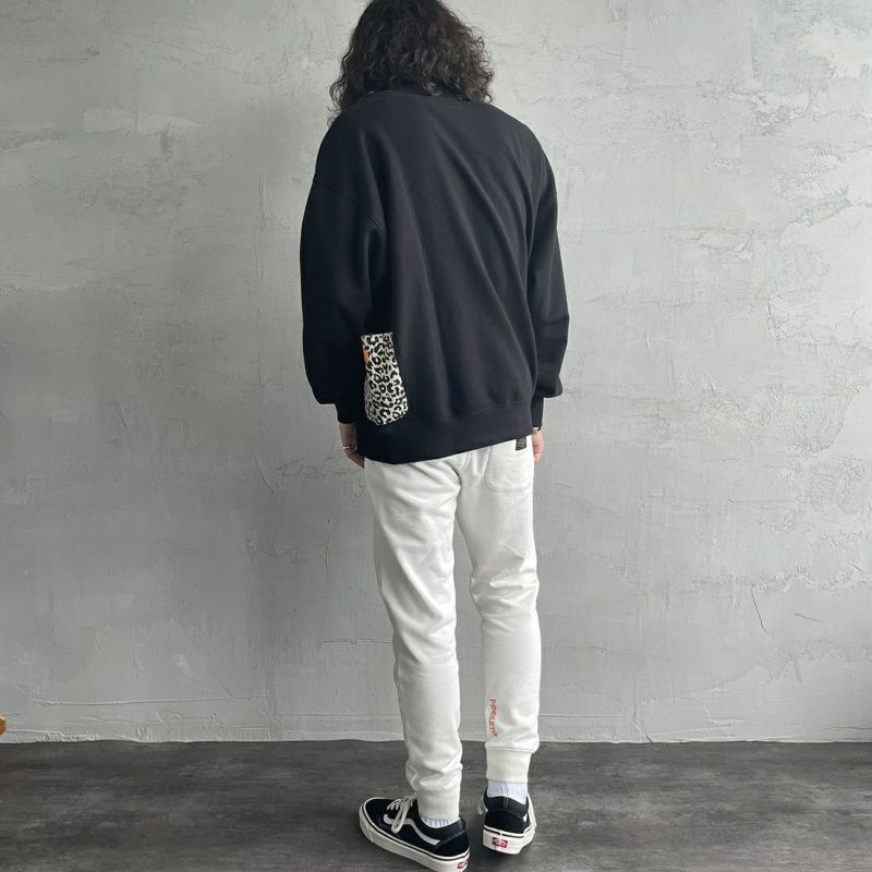 UNIVERSAL OVERALL [ユニバーサルオーバーオール] 別注 カバーオールスウェット [U2131226IN-JF] BLACK&&モデル身長:173cm 着用サイズ:L&&