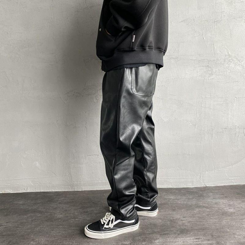 UNIVERSAL OVERALL [ユニバーサルオーバーオール] 別注 シェフパンツ [U2131602IN-JF] BLK LEATHE&&モデル身長:173cm 着用サイズ:M&&