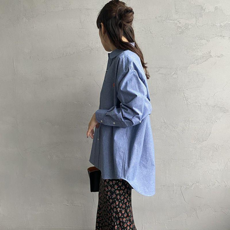 UNIVERSAL OVERALL [ユニバーサルオーバーオール] 別注 ラウンドカラービッグシャツ [U2132100IN-JF] BLUE&&モデル身長:160cm 着用サイズ:F&&