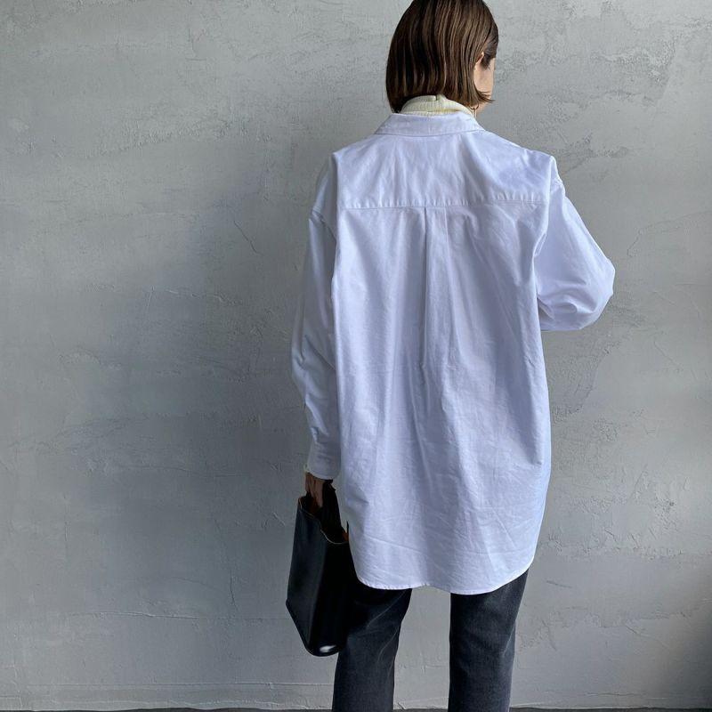 UNIVERSAL OVERALL [ユニバーサルオーバーオール] 別注 ラウンドカラービッグシャツ [U2132100IN-JF] WHITE&&モデル身長:163cm 着用サイズ:F&&