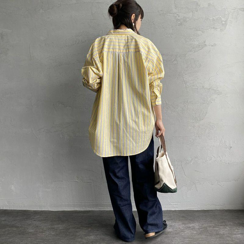 UNIVERSAL OVERALL [ユニバーサルオーバーオール] 別注 ラウンドカラービッグシャツ [U2132100IN-JF] YELLOW ST&&モデル身長:160cm 着用サイズ:F&&