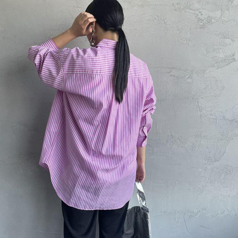 UNIVERSAL OVERALL [ユニバーサルオーバーオール] 別注 ラウンドカラービッグシャツ [U2132100IN-JF] PINK ST&&モデル身長:156cm 着用サイズ:F&&