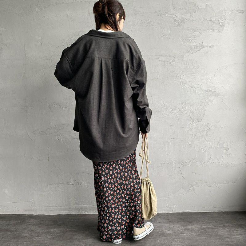 UNIVERSAL OVERALL [ユニバーサルオーバーオール] 別注 CPOビッグシャツ [U2132200IN-JF] CHARCOAL&&モデル身長:160cm 着用サイズ:F&&