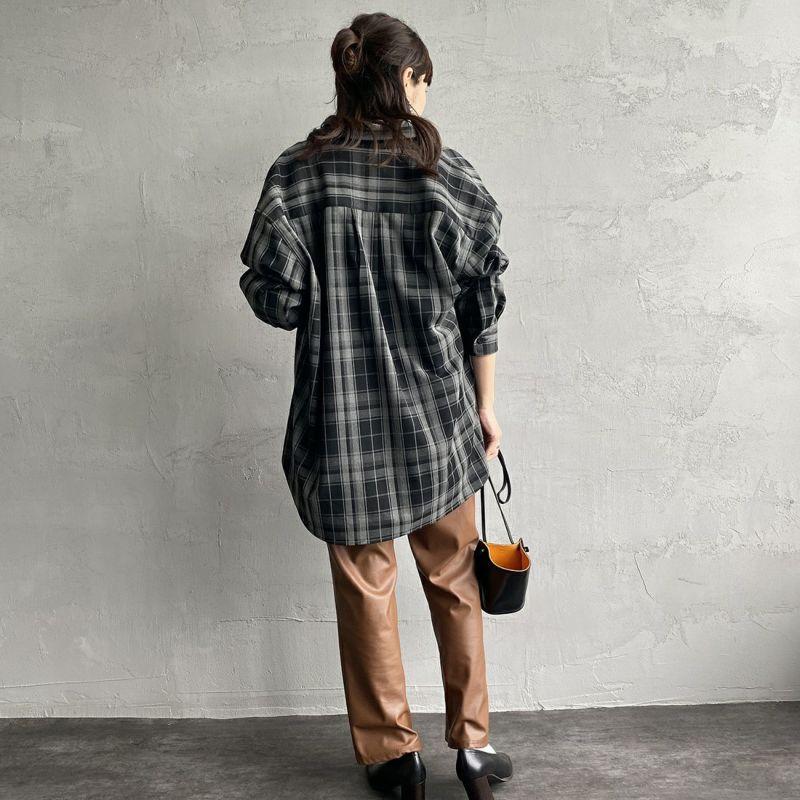 UNIVERSAL OVERALL [ユニバーサルオーバーオール] 別注 CPOビッグシャツ [U2132200IN-JF] BLACK CHK&&モデル身長:160cm 着用サイズ:F&&