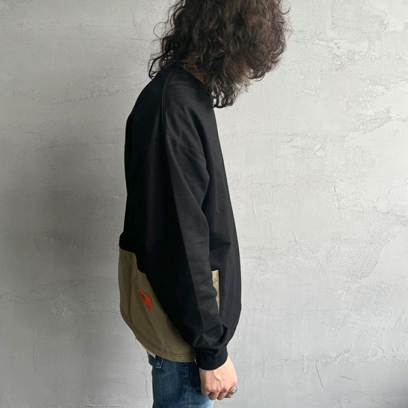 UNIVERSAL OVERALL [ユニバーサルオーバーオール] 別注 エプロンスウェット [U2131232IN-JF] BLACK&&モデル身長:173cm 着用サイズ:L&&