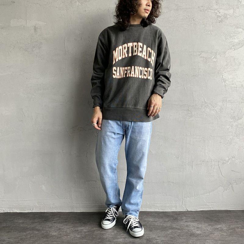 SCREEN STARS [スクリーンスターズ] 別注 カレッジプリント ピグメント ロングスリーブTシャツ [2123-423INPT-JF] BLACK&&モデル身長:173cm 着用サイズ:L&&
