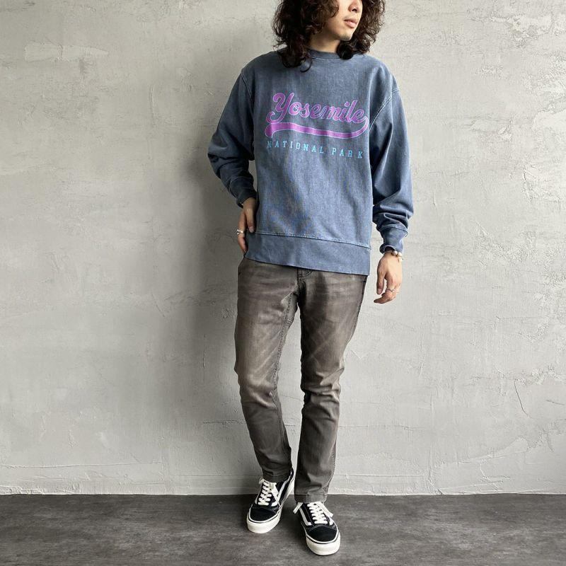 SCREEN STARS [スクリーンスターズ] 別注 カレッジプリント ピグメント ロングスリーブTシャツ [2123-423INPT-JF] BLUE&&モデル身長:173cm 着用サイズ:M&&