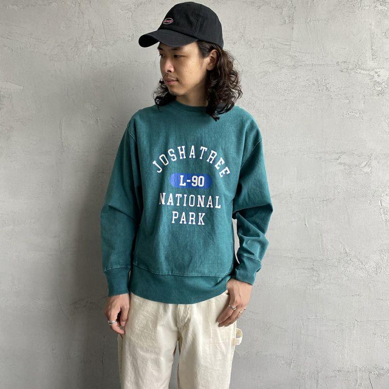 SCREEN STARS [スクリーンスターズ] 別注 カレッジプリント ピグメント ロングスリーブTシャツ [2123-423INPT-JF] GREEN&&モデル身長:173cm 着用サイズ:M&&