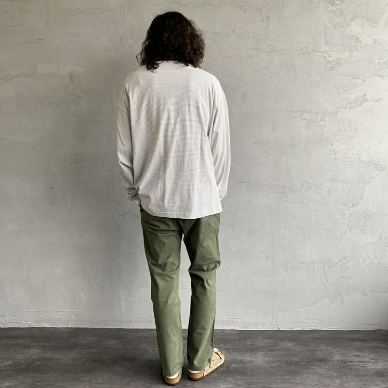 PAY DAY [ペイデイ] 別注 ビッグリンガーボーダーTシャツ [PD-IN-CS008-JF] GREY BDR&&モデル身長:173cm 着用サイズ:L&&