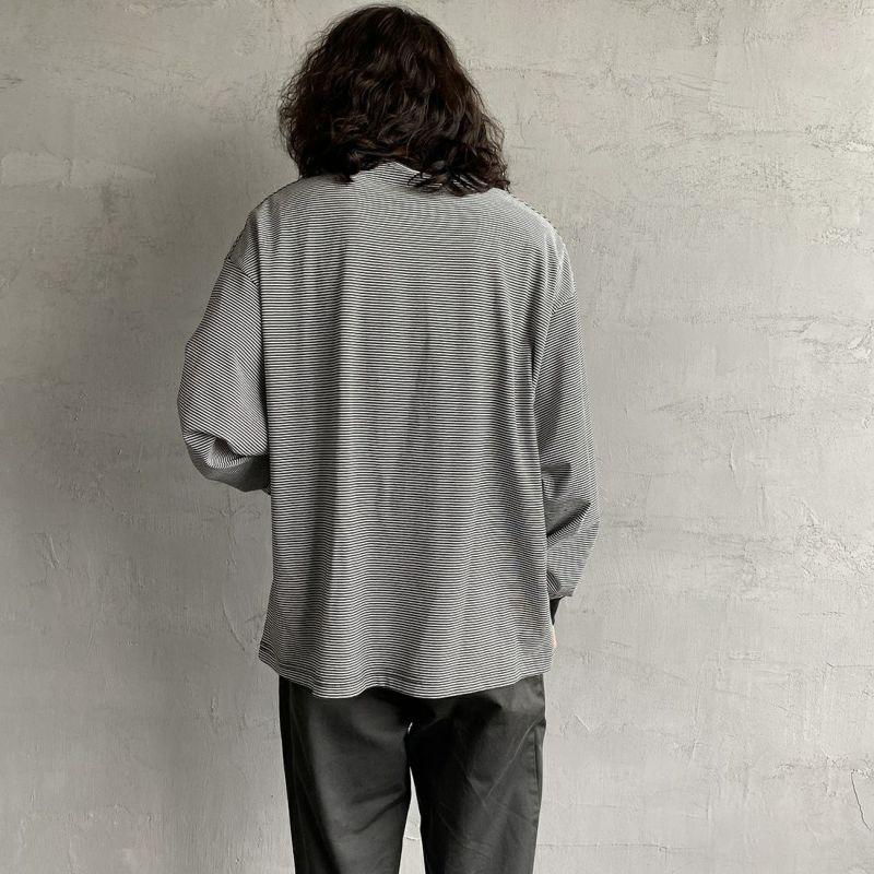 PAY DAY [ペイデイ] 別注 ビッグリンガーボーダーTシャツ [PD-IN-CS008-JF] BLACK BDR&&モデル身長:173cm 着用サイズ:L&&