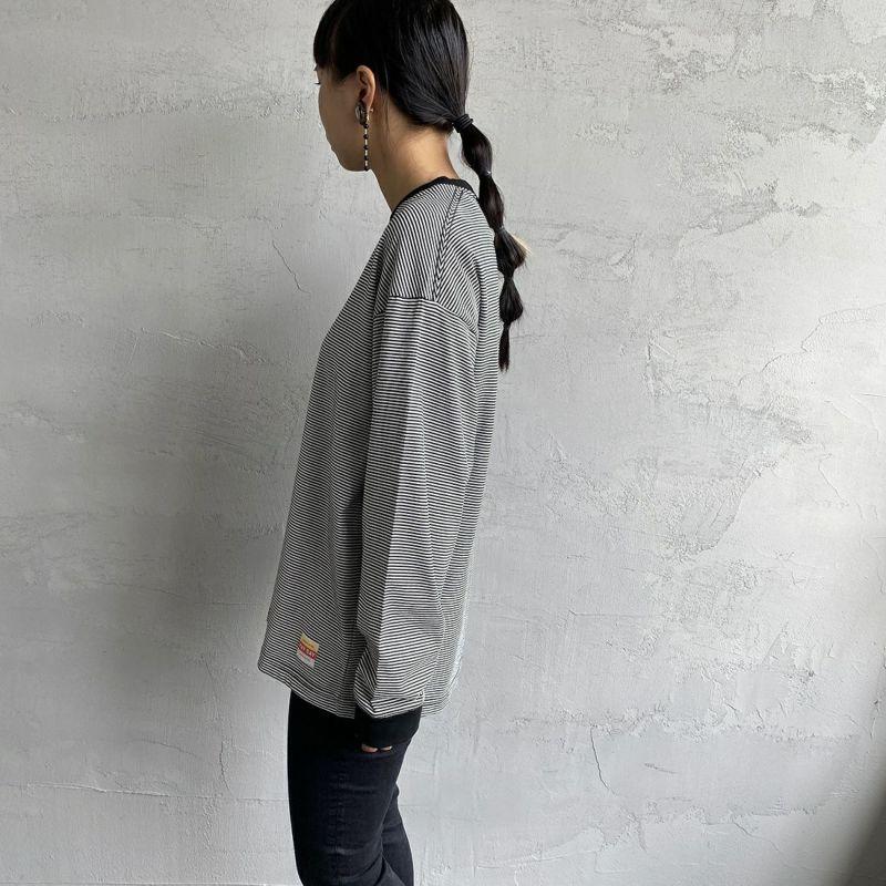 PAY DAY [ペイデイ] 別注 ビッグリンガーボーダーTシャツ [PD-IN-CS008-JF] BLACK BDR&&モデル身長:156cm 着用サイズ:S&&