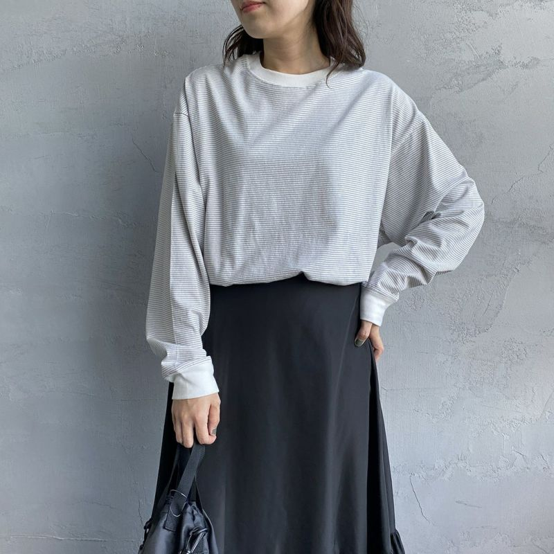 PAY DAY [ペイデイ] 別注 ビッグリンガーボーダーTシャツ [PD-IN-CS008-JF] GREY BDR&&モデル身長:160cm 着用サイズ:S&&