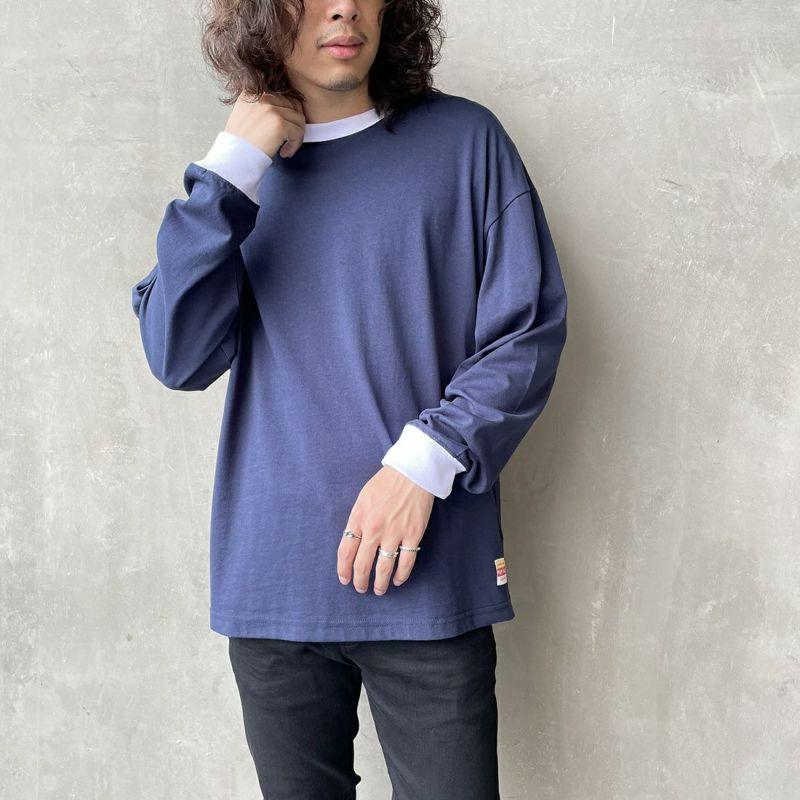 PAY DAY [ペイデイ] 別注 ビッグリンガーソリッドTシャツ [PD-IN-CS009-JF] NAVY&&モデル身長:173cm 着用サイズ:M&&