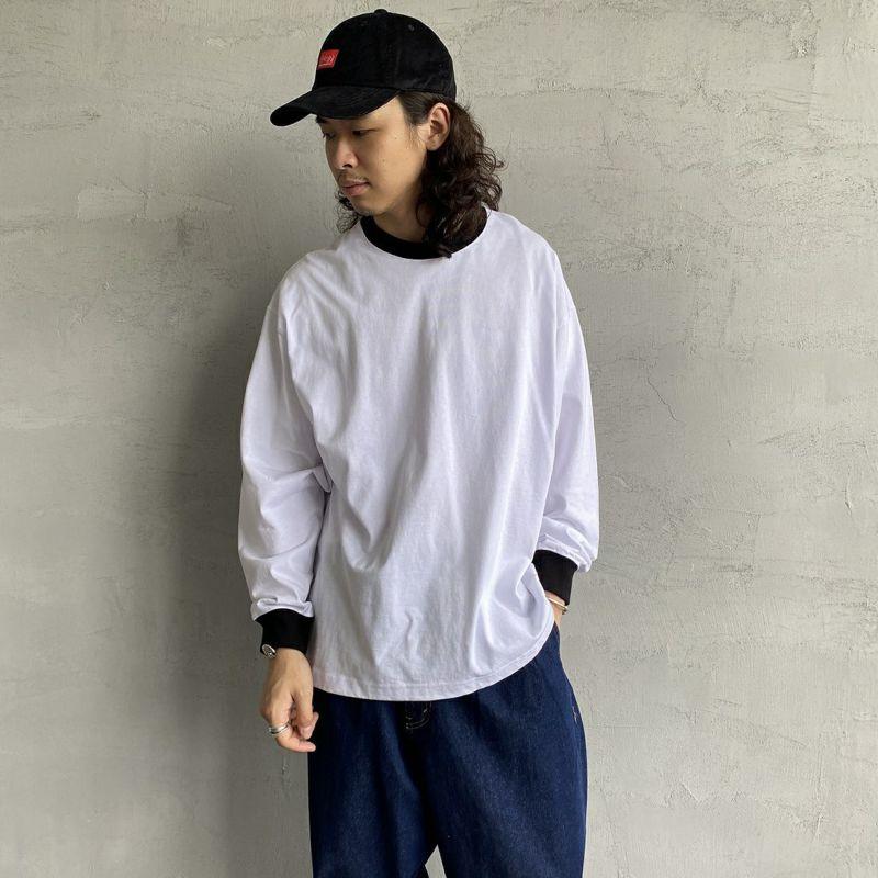 PAY DAY [ペイデイ] 別注 ビッグリンガーソリッドTシャツ [PD-IN-CS009-JF] WHITE&&モデル身長:173cm 着用サイズ:L&&