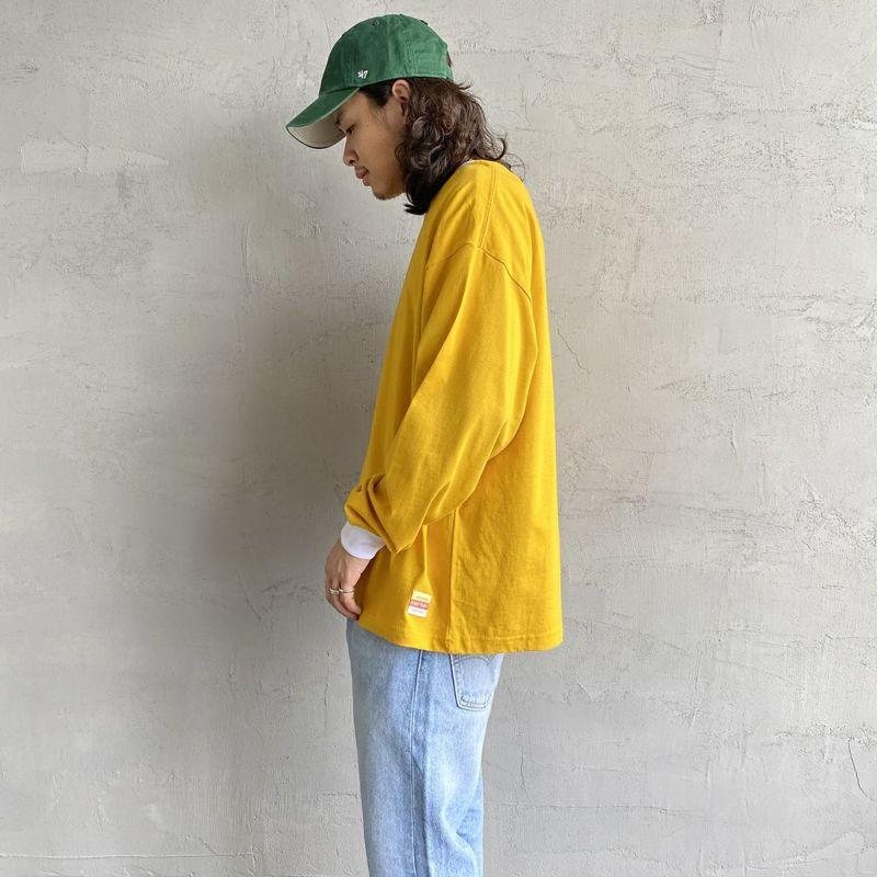 PAY DAY [ペイデイ] 別注 ビッグリンガーソリッドTシャツ [PD-IN-CS009-JF] YELLOW&&モデル身長:173cm 着用サイズ:L&&