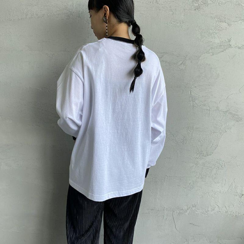 PAY DAY [ペイデイ] 別注 ビッグリンガーソリッドTシャツ [PD-IN-CS009-JF] WHITE&&モデル身長:156cm 着用サイズ:S&&