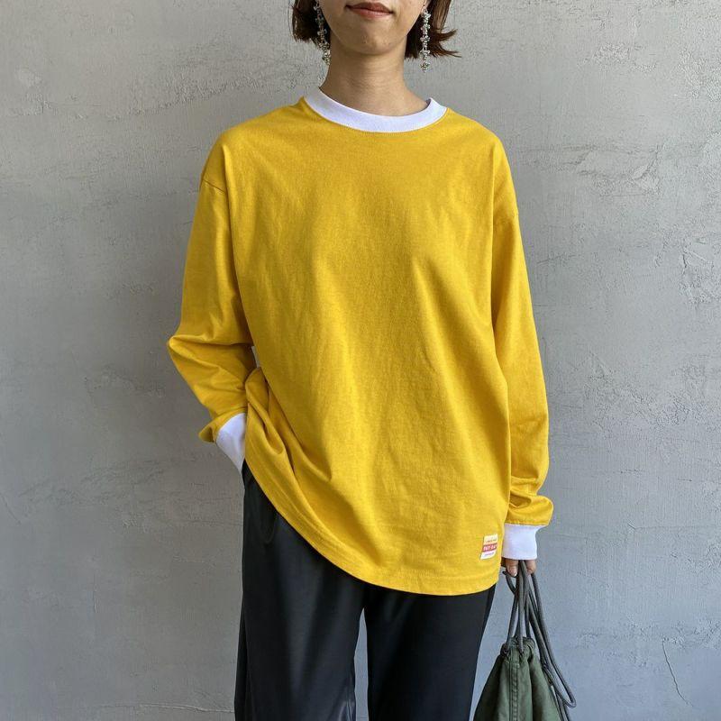 PAY DAY [ペイデイ] 別注 ビッグリンガーソリッドTシャツ [PD-IN-CS009-JF] YELLOW&&モデル身長:163cm 着用サイズ:S&&