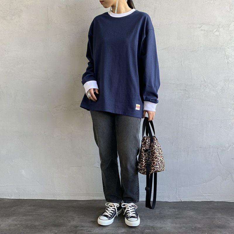 PAY DAY [ペイデイ] 別注 ビッグリンガーソリッドTシャツ [PD-IN-CS009-JF] NAVY&&モデル身長:156cm 着用サイズ:S&&