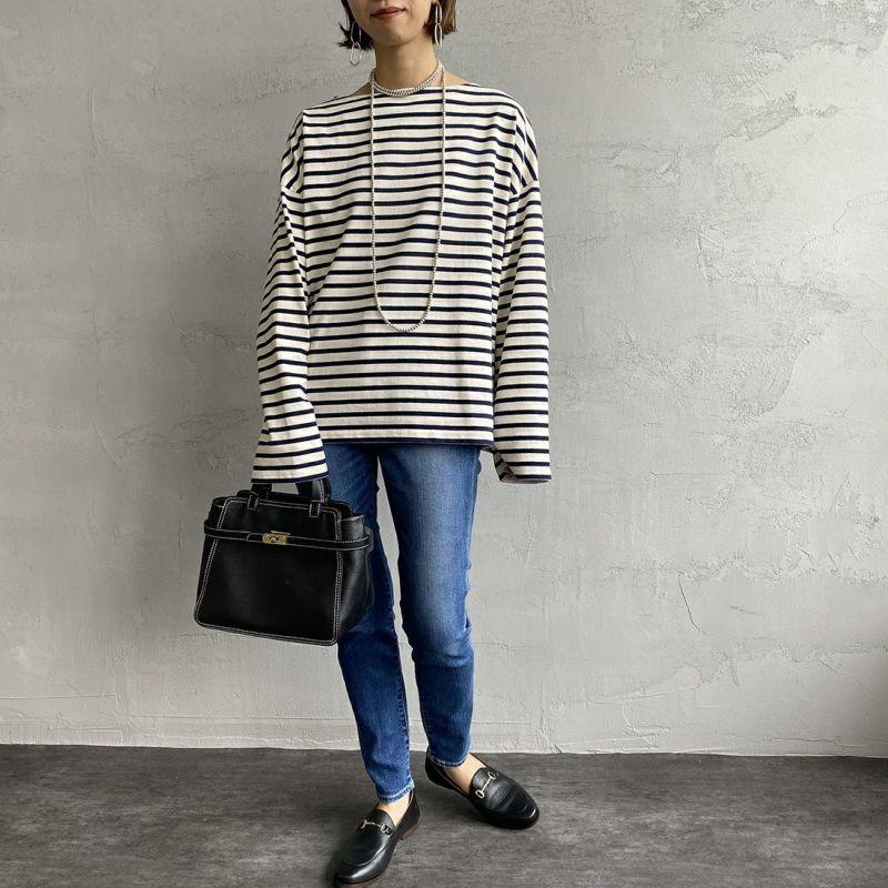ORCIVAL [オーシバル] ワイドシルエット ボートネックバスクTシャツ [B449] ECR/MAR&&モデル身長:163cm 着用サイズ:1&&