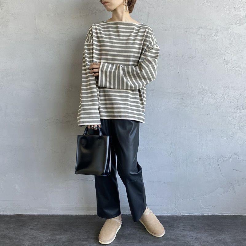 ORCIVAL [オーシバル] ワイドシルエット ボートネックバスクTシャツ [B449] KIM/TUF&&モデル身長:158cm 着用サイズ:1&&