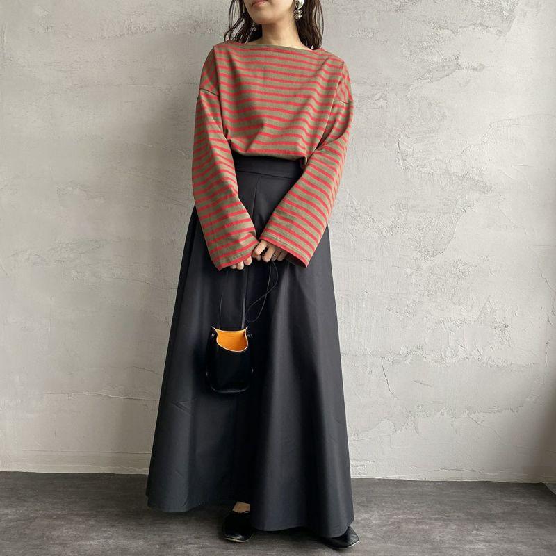 ORCIVAL [オーシバル] ワイドシルエット ボートネックバスクTシャツ [B449] SOL/RAS&&モデル身長:160cm 着用サイズ:1&&