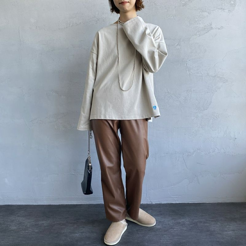 ORCIVAL [オーシバル] ワイドシルエット ボートネックバスクTシャツ [B449] TUFFEAU&&モデル身長:163cm 着用サイズ:1&&