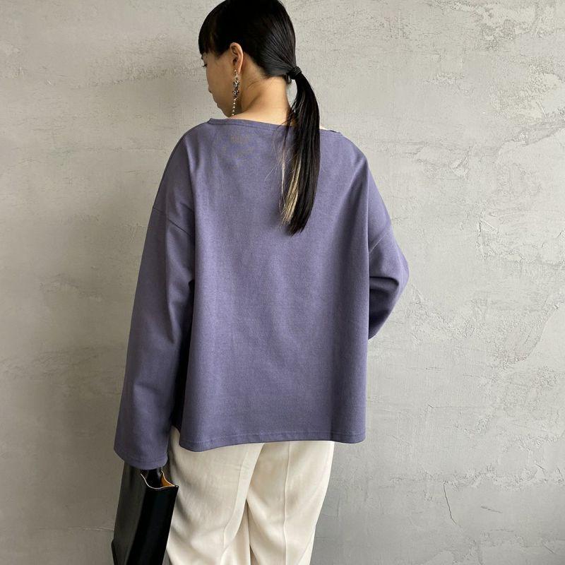 ORCIVAL [オーシバル] ワイドシルエット ボートネックバスクTシャツ [B449] VIOLET&&モデル身長:156cm 着用サイズ:1&&