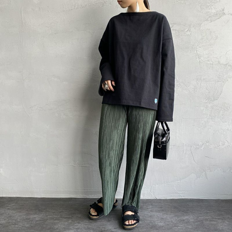 ORCIVAL [オーシバル] ワイドシルエット ボートネックバスクTシャツ [B449] BLACK&&モデル身長:156cm 着用サイズ:1&&