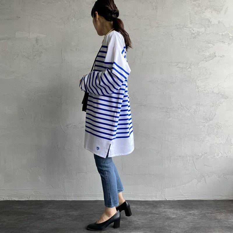 ORCIVAL [オーシバル] ボートネックボーダーTシャツ [6101C] WHI/BLE&&モデル身長:160cm 着用サイズ:8&&