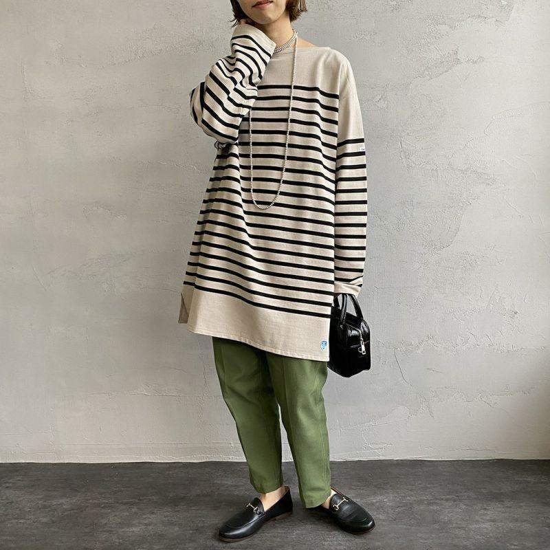 ORCIVAL [オーシバル] ボートネックボーダーTシャツ [6101C] PEB/BLA&&モデル身長:163cm 着用サイズ:8&&