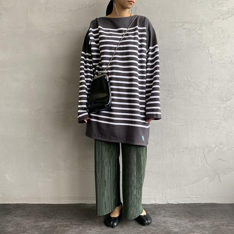 ORCIVAL [オーシバル] ボートネックボーダーTシャツ [6101C] COA/WHI&&モデル身長:156cm 着用サイズ:8&&