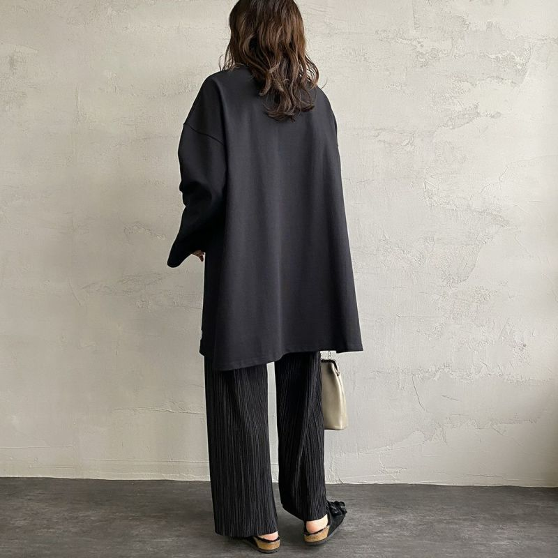 ORCIVAL [オーシバル] ボートネック チュニックバスクTシャツ [B335] BLACK&&モデル身長:160cm 着用サイズ:1&&
