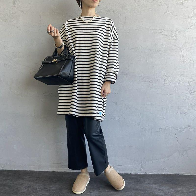 ORCIVAL [オーシバル] ボートネック チュニックバスクTシャツ [B335] ECR/BLA&&モデル身長:158cm 着用サイズ:1&&V