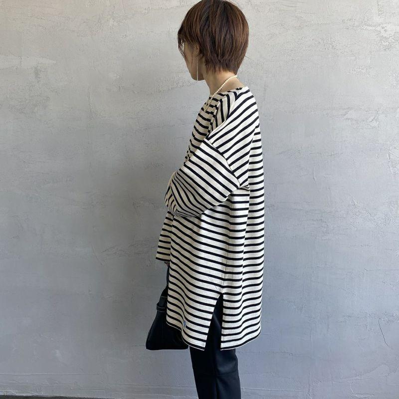 ORCIVAL [オーシバル] ボートネック チュニックバスクTシャツ [B335] ECR/BLA&&モデル身長:158cm 着用サイズ:1&&