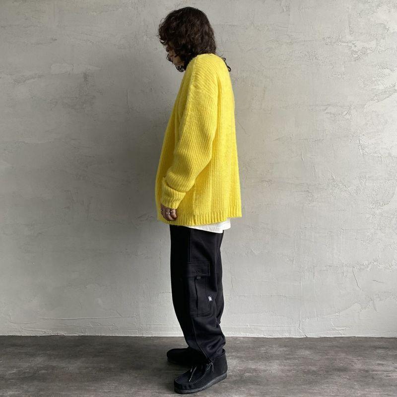CAL O LINE [キャルオーライン] モヘア カーディガン [CL212-068] YELLOW&&モデル身長:173cm 着用サイズ:L&&