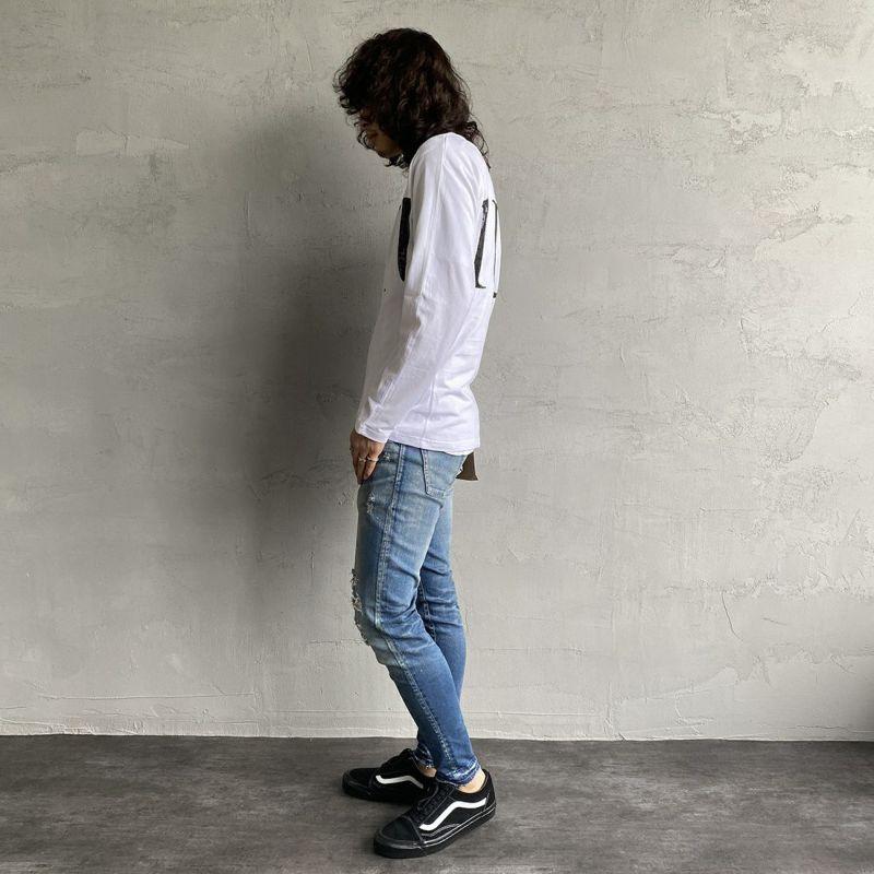 1PIU1UGUALE3 [ウノ ピゥ ウノ ウグァーレ トレ] スパンコールビッグロゴ長袖Tシャツ [UST-21039] WHITE&&モデル身長:173cm 着用サイズ:L&&