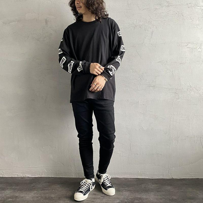 CHUMS [チャムス] 別注 袖ロゴ バックプリントTシャツ [CH01-2009-JF] BLACK&&モデル身長:173cm 着用サイズ:XXL&&