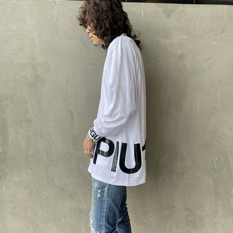 1PIU1UGUALE3 [ウノ ピゥ ウノ ウグァーレ トレ] ワイドネックロゴ長袖Tシャツ [UST-21043] WHITE&&モデル身長:173cm 着用サイズ:L&&