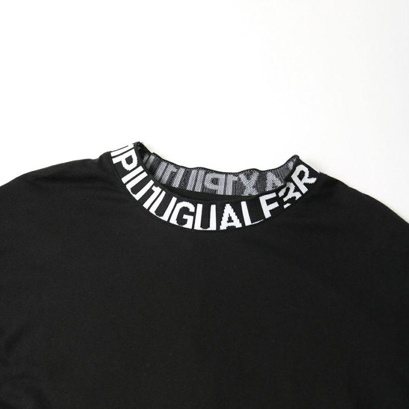 1PIU1UGUALE3 [ウノ ピゥ ウノ ウグァーレ トレ] ワイドネックロゴ長袖Tシャツ [UST-21043] BLACK