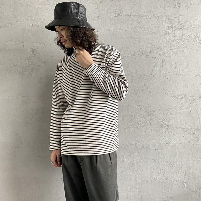 FIDELITY [フィデリティ] 別注 モックネックボーダーロングスリーブTシャツ [TK-1775904-JF] 37 OFF/NVY&&モデル身長:173cm 着用サイズ:L&&