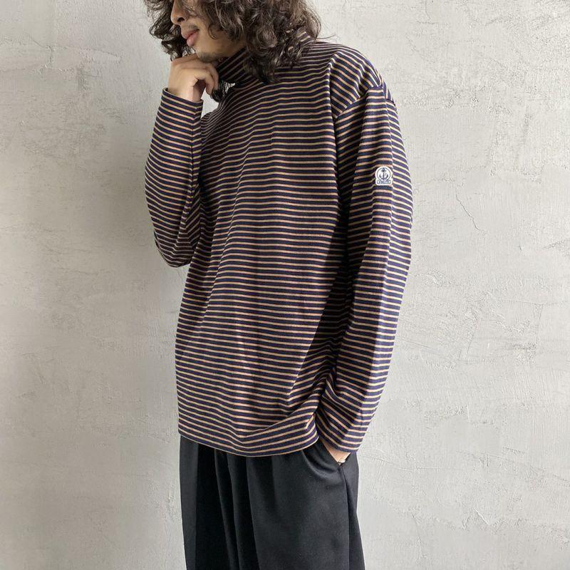 FIDELITY [フィデリティ] 別注 モックネックボーダーロングスリーブTシャツ [TK-1775904-JF] 35 NVY/BEG&&モデル身長:173cm 着用サイズ:L&&