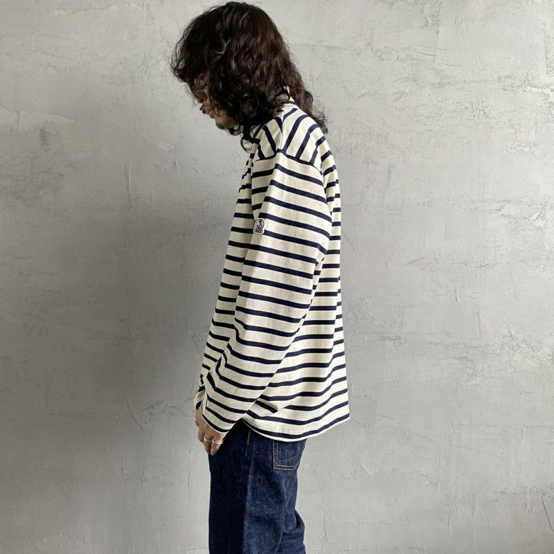 FIDELITY [フィデリティ] 別注 モックネックボーダーロングスリーブTシャツ [TK-1775904-JF] 90 OFF/NVY&&モデル身長:173cm 着用サイズ:L&&
