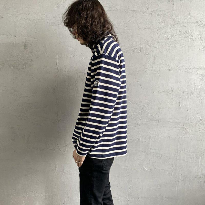 FIDELITY [フィデリティ] 別注 モックネックボーダーロングスリーブTシャツ [TK-1775904-JF] 60 NVY/OFF&&モデル身長:173cm 着用サイズ:M&&