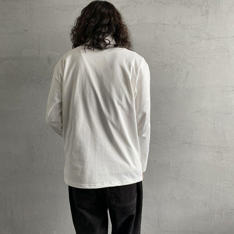 FIDELITY [フィデリティ] 別注 モックネックボーダーロングスリーブTシャツ [TK-1775904-JF] 06 OFF WHT&&モデル身長:173cm 着用サイズ:M&&