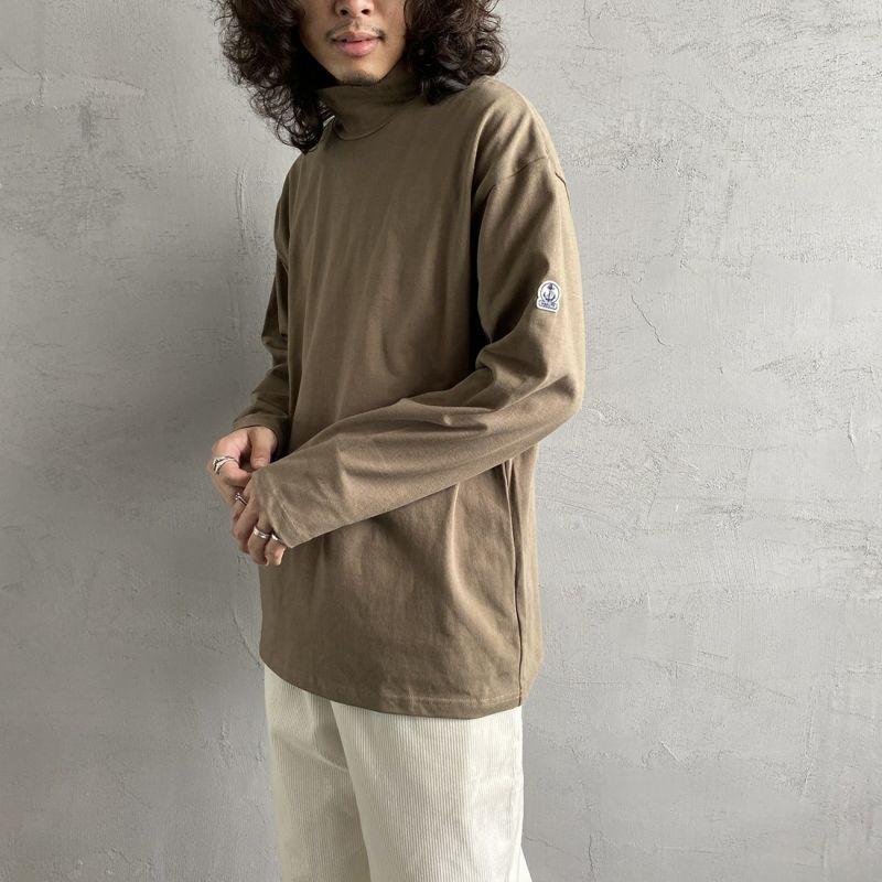 FIDELITY [フィデリティ] 別注 モックネックボーダーロングスリーブTシャツ [TK-1775904-JF] 31 BEIGE&&モデル身長:173cm 着用サイズ:L&&