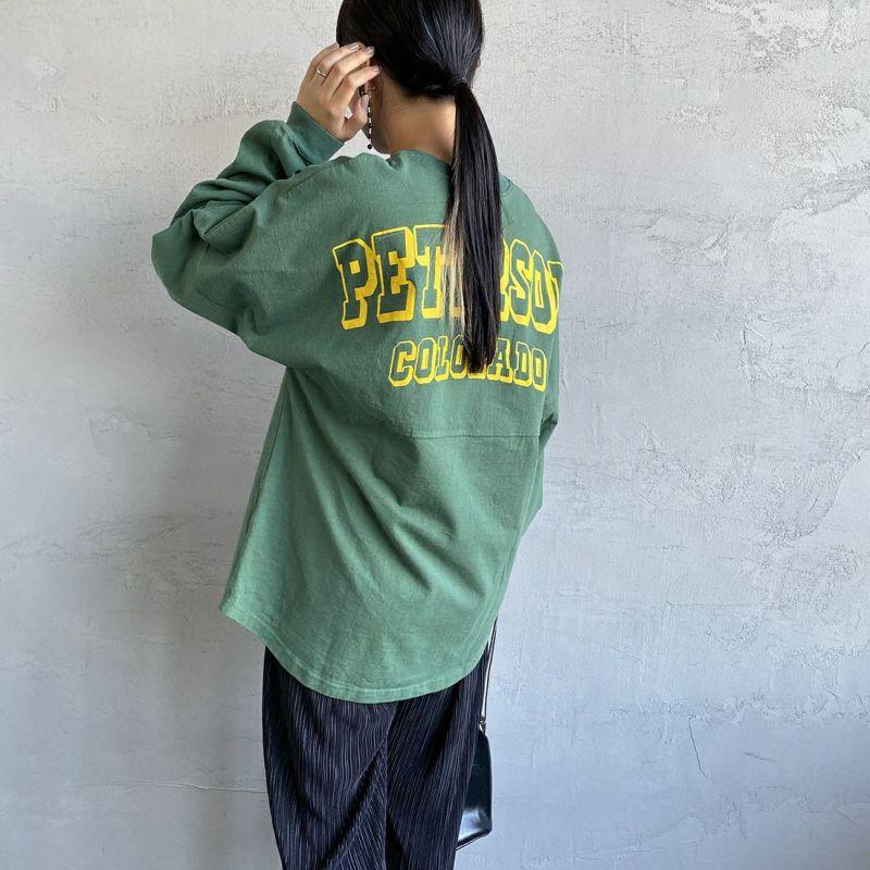 THE SHINZONE [ザ シンゾーン] ミリタリーバックプリントTシャツ [21AMSCU15] 75 GREEN&&モデル身長:156cm 着用サイズ:F&&